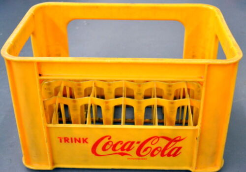 Vintage Yellow Plastic GERMAN TRINK CocaCola BOTTLE CASE Carrier Crate Germany