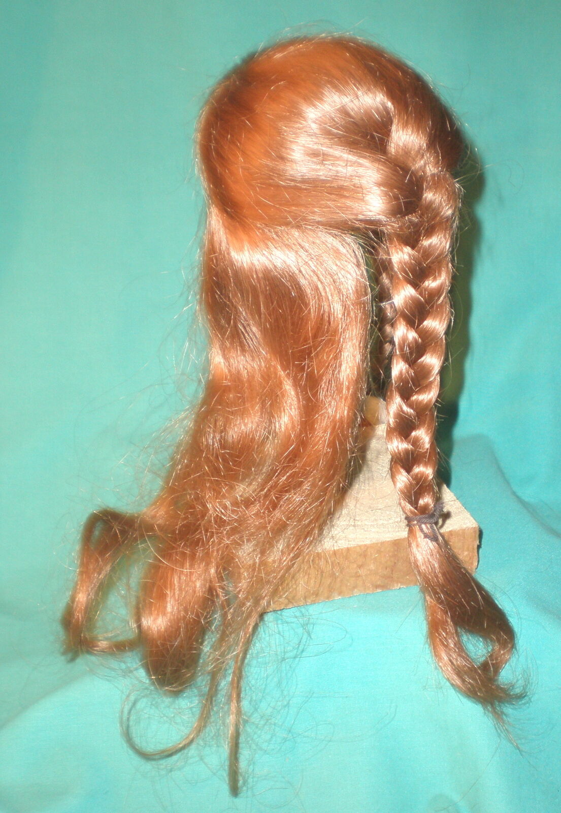 Doll wig  human hair 9.5  to 10    light rot long hair braids hand knitted 8bbd7d