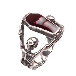 Fashion-Cool-Men-Gothic-Vampire-Skeleton-Skull-Bloody-Red-Enamel-Coffin-Ring-BE