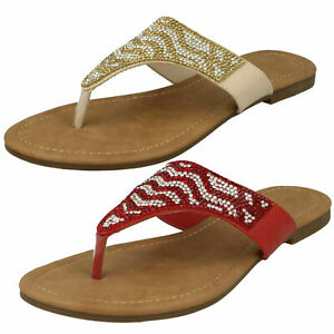 Senoras-Rojo-Toe-Post-Diamante-Verano-Flip-Flop-Sandalias-Planas-mulas-UK-3-8-F00010
