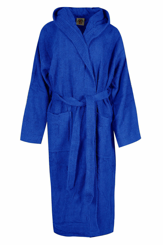Mens Cotton Hooded Toweling Bathrobe Terry Bath Robe Dressing Gown BNWT