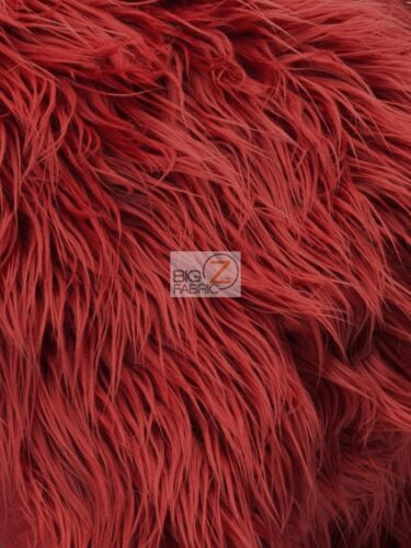 Red FAUX FAKE FUR SOLID MONGOLIAN LONG PILE FABRIC - BY YARD OLD LOT