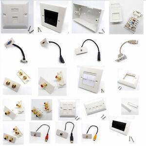 Network-Modular-Wall-Face-Plate-Module-Stub-HDMI-VGA-USB-AV-RCA-3-5mm-Jack-Lot