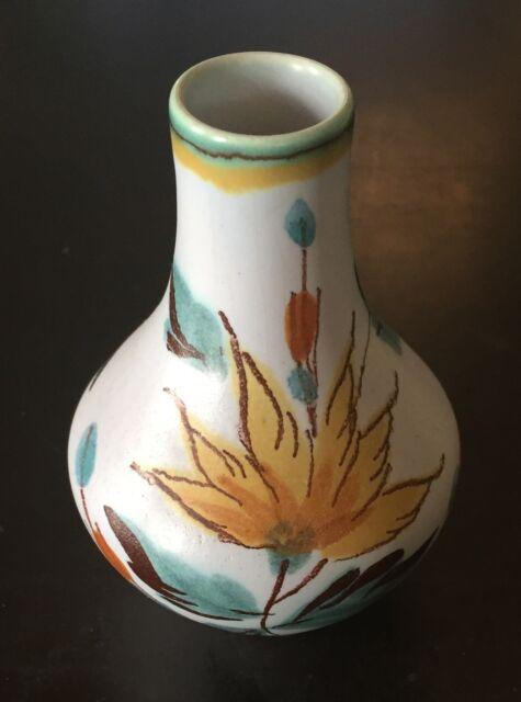 Vintage Flora Miniature Gouda Vase White Base W Yellow Purple