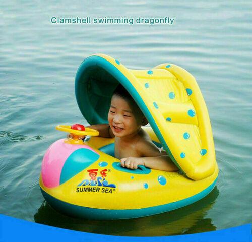 Aufblasbar Schwimmhilfe Schwimmring Sonnenschutz Babyboot Schwimmtrainer Ring