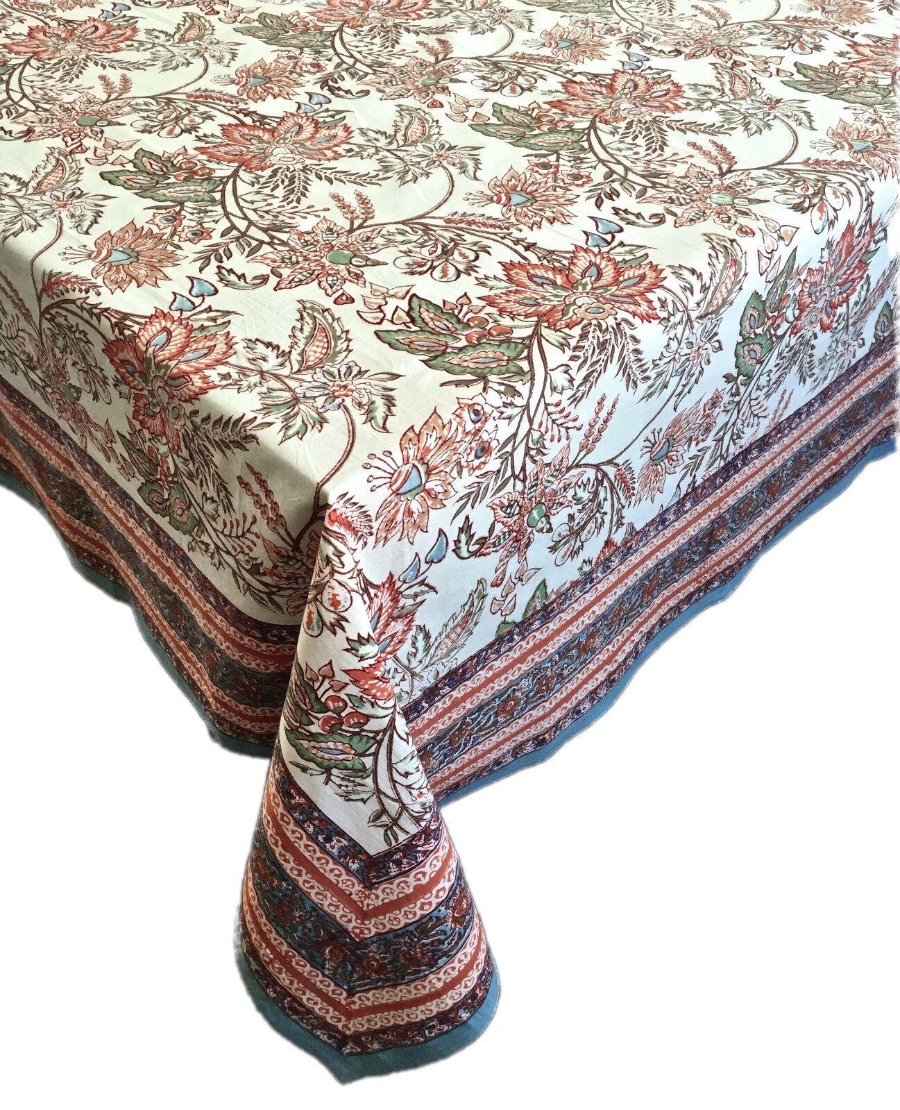 Anokhi 70 x108  Soft blanc Multi-Couleur Floral Rectangular Cotton Tablecloth