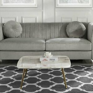 Details about Modern Mid-Century Coffee Table with Marble Print and Gold  Legs (White)