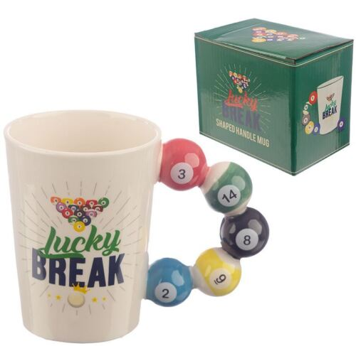 NOVELTY 3D POOL BALL HANDLE LUCKY BREAK COFFEE MUG TEA CUP NEW IN GIFT BOX