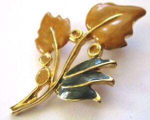 broche bijou rétro couleur or poli fleur émail de couleur moutarde et vert 3446 EvOKtVte-09153939-279468658