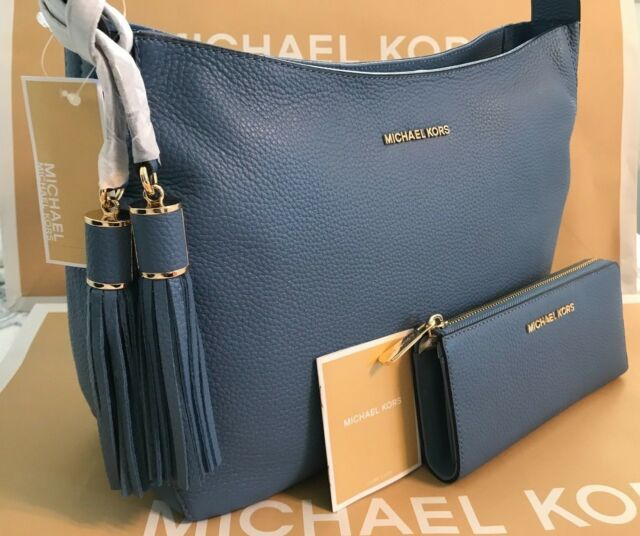 4c6439b72fbe MICHAEL KORS ASHBURY LARGE SLOUCHY LEATHER Shoulder Bag   WALLET- Sky Blue  NWT