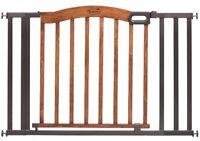 5ft Baby Walk-thru Gate, Indoor Safety Stopper Mount Wood Metal Brown/black on sale