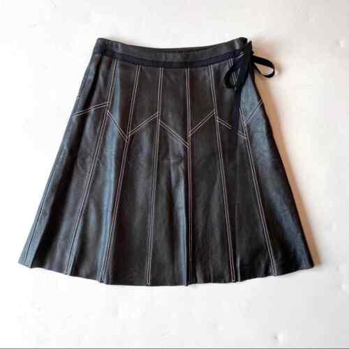 Margaret Godfrey Leather Pleated Skirt Black White