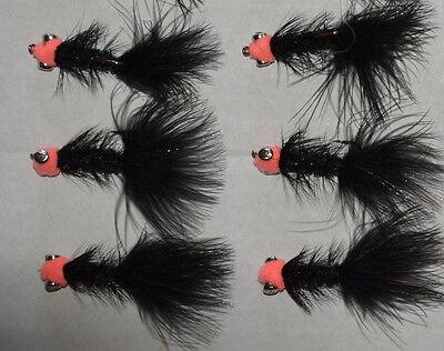 7 Egg Sucking Leech Barbell Black Copper #4-6 Salmon Steelhead Trout Fly Fishing