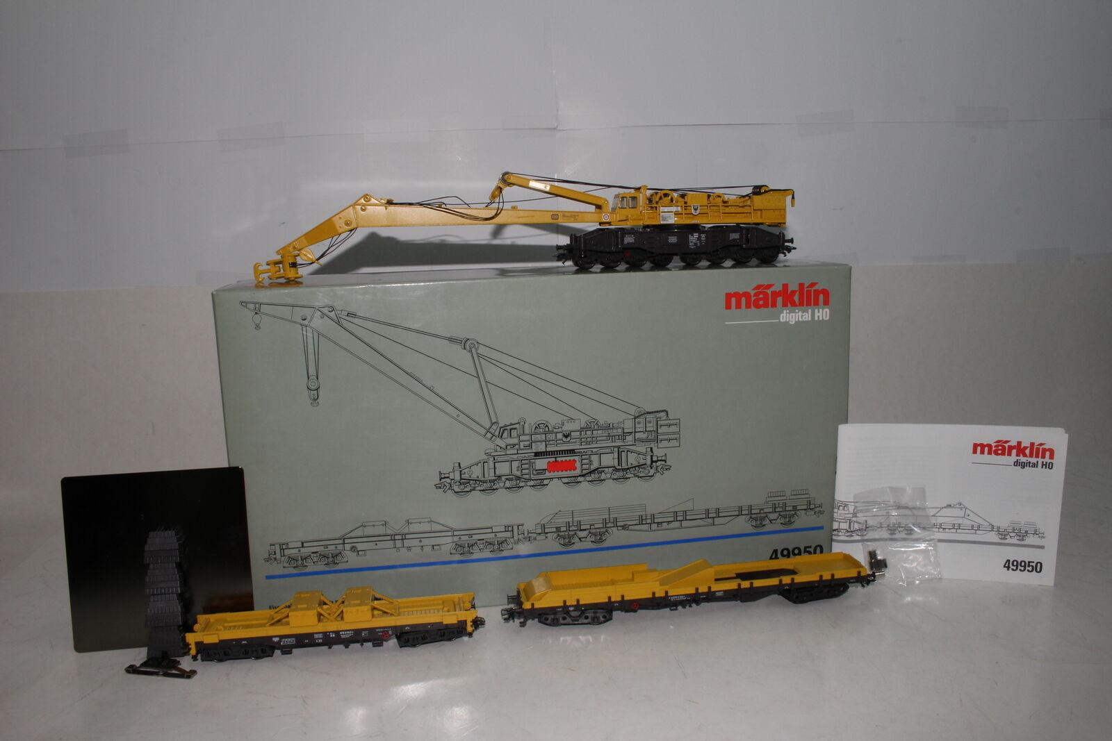 MARKLIN HO HO HO SCALE  49950 RAILROAD CRANE SET W/ DIGITAL FUNCTIONS, EXCELLENT BOXED 27e4ea