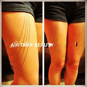 NEW-Women-girl-90-039-Gothic-beach-Shorts-039-thigh-leg-body-chain-metallic-jewellery