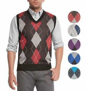 fd89ff5df True Rock Men s Athletic Cut Argyle V-Neck Sweater Vest