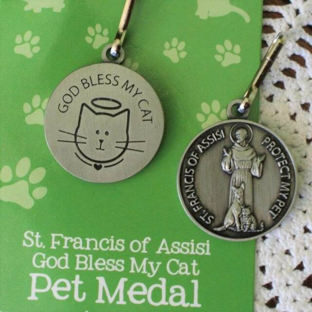 Pet Medal Tag Charm St. Francis God Bless My Cat with Halo 7/8 inch Pot Metal