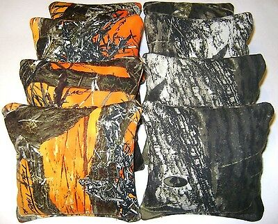 MOSSY OAK CAMO & TRUE TIMBER ORANGE CORNHOLE BEAN BAGS 8 WATERPROOF ALL WEATHER