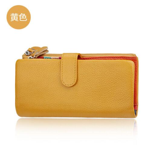 RFID Women/'s Genuine Leather Long Bifold Wallet Money Card Holder Clutch Purse