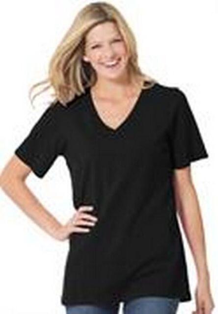 Women's Plus Perfect V Neck T Shirt in Black  NIP