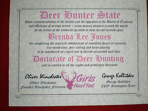 DEER-Hunting-Diploma-Girl-cave-certificate-gift-Hunter-Lady-Hunter