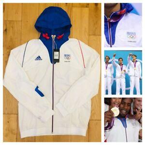 Détails sur Adidas Homme France Pro Elite Athlete Jeux Olympiques 2012 à capuche podium Veste nouveau afficher le titre d'origine