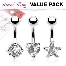 3 lot CLEAR Heart Star Round Gem BELLY Button NAVEL RINGS Body Piercing Jewelry