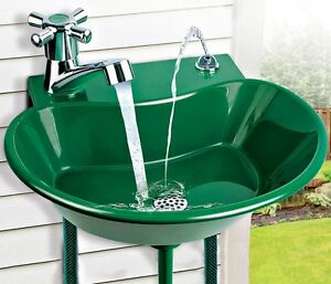 Plastic yard sink w multi use faucet drink fountain for Decor 5 5 litre drink fountain