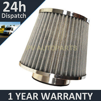 SILVER UNIVERSAL PERFORMANCE CONE INDUCTION KIT MESH AIR FILTER WITH ADAPTORS