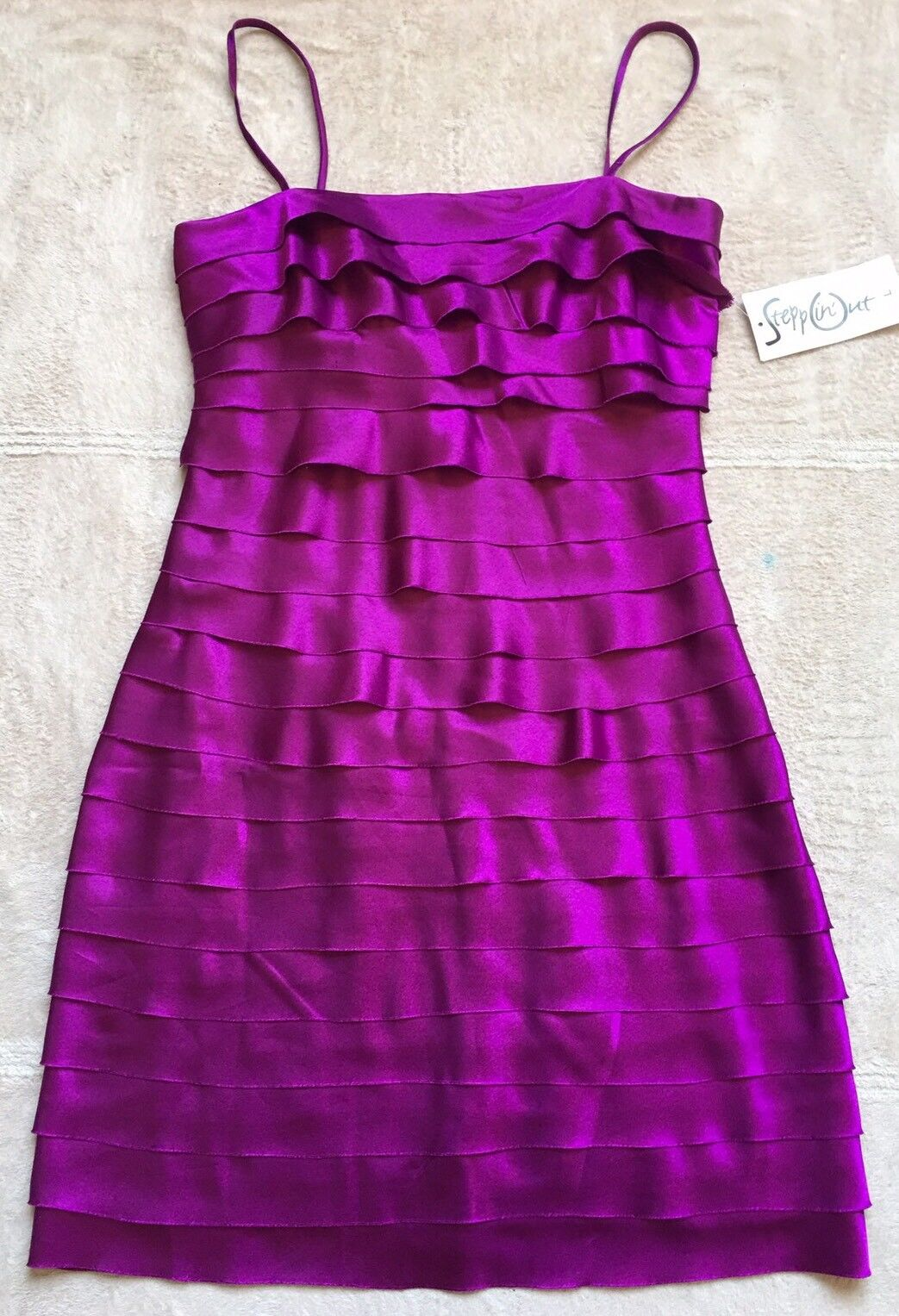 Steppin' Out Sleeveless Spaghetti Strap PROM Dress JunIors Sz LARGE, Purple, NWT