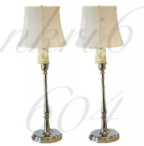 Pair Of 2 Ralph Lauren Polished Chrome Silver Candlestick