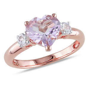 Rose Pink Sterling Silver Rose de France and Created White Sapphire Heart Ring