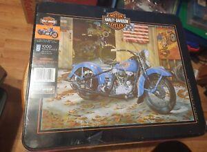 Motos-Harley-Davidson-Knucklehead-1000-Pieza-Rompecabezas-amp-Lata-de-coleccionista