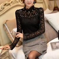 Women's High Collar Long Sleeve Lace Tops Shirt Blouse Ladies Korean Fashion