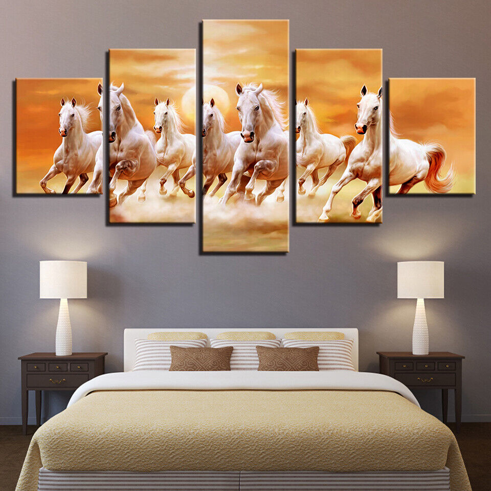 Running Fine Horses At Sunset Scenery Canvas Wall Decor Home Decor Canvas Print