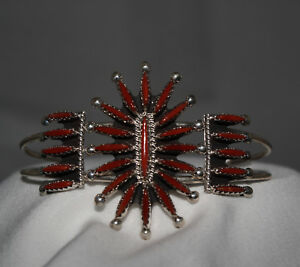 Coral-Needlepoint-Cuff-Bracelet-by-Ben-Yellowhorse-Navajo