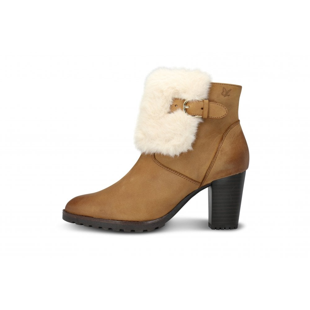 NEW .CAPRICE CAMEL NUBUCK LEATHER ANKLE bottes WITH FAUX FUR TRIM & BUCKLE DETAIL