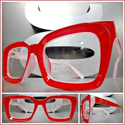 Rosso TIJN Uomo Donna Vintage Occhiali Rotondi Montatura per Occhiali da Vista Lenti Chiare