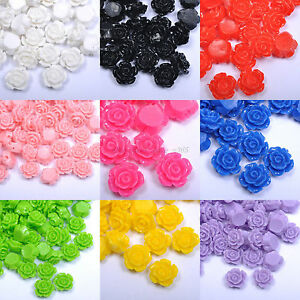 28Colors-10-20pcs-10-12-15mm-Resin-Flower-Shape-Charms-Loose-Spacer-Beads-New