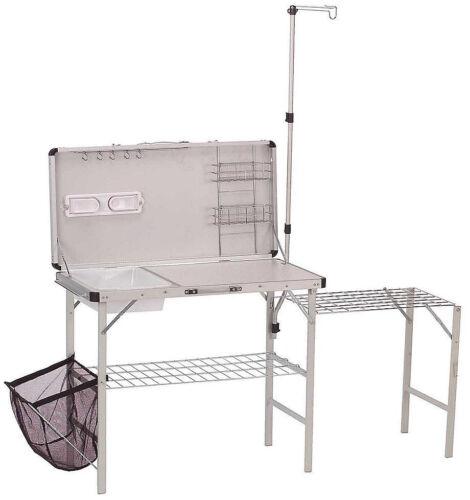 Camping Kitchen Portable Pack Away Outdoor Food Prep Lantern Hanger Shelf Sink