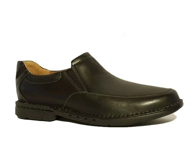 NEW CLARKS UNSTRUCTURED  UNCORNER TWIN  BLACK GENUINE LEATHER SLIP ON SHOES MENS