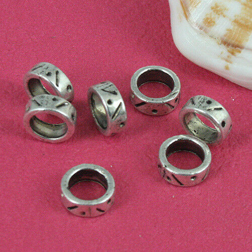 50pcs dark silver tone round spacer charms with big hole h0836