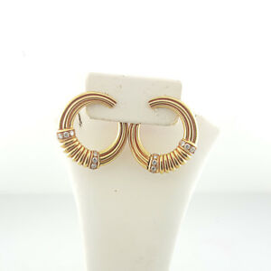 Details About Authentic Van Cleef Arpels Diamond 18k Yellow Gold Hoop Earrings