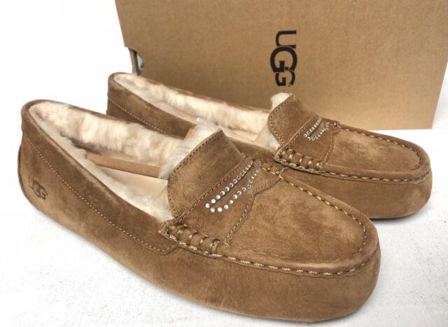 5c65d831547 Uggs UGG Violette Sparkle Sheepskin Slippers Loaffers Shoes 10 M Chestnut