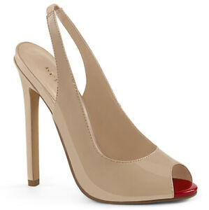 Pleaser-SEXY-08-Women-Beige-Dress-High-Heel-Slingback-Slip-On-Peep-Toe-Pumps