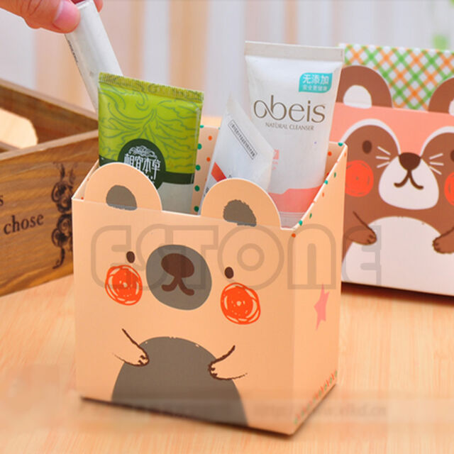 Cute Cat Cartoon Paper Stationery Makeup Cosmetic Desk Organizer Storage Box DIY