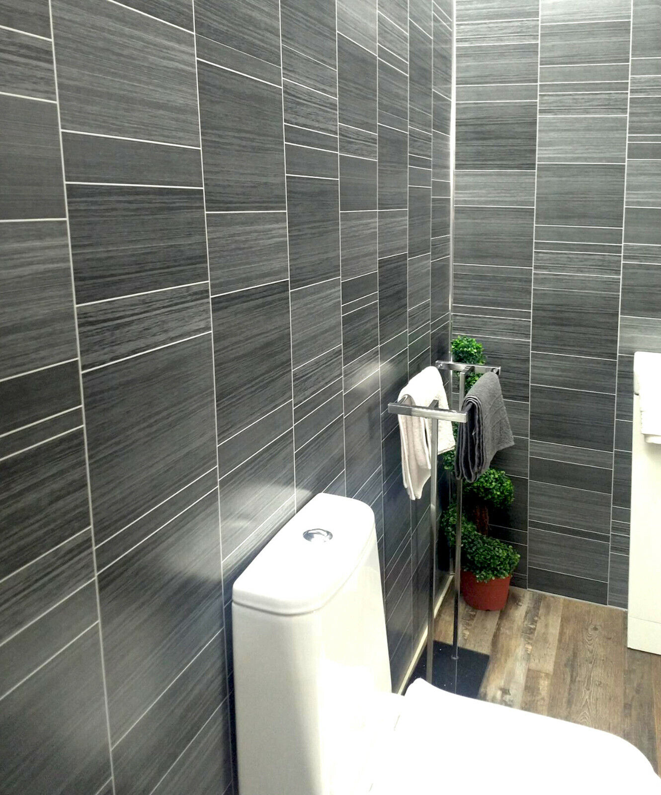 Executive Grey Tile Effect Bathroom Cladding Panels Wet ...