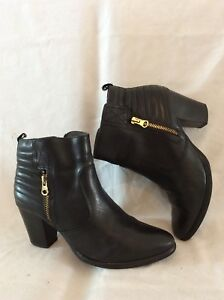 Details zu Tamaris Black Ankle Leather Boots Size 38
