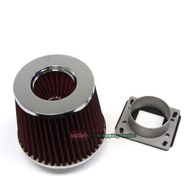 Mass Air Flow Sensor Intake Adapter RED Filter For 83-91 Porsche 944 944S