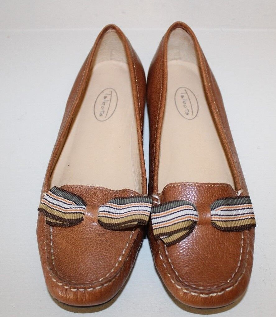 Talbots Womens Loafer shoes Sz 9 B Brown Slip-On Driving Moc Toe Bow Tied Brazil